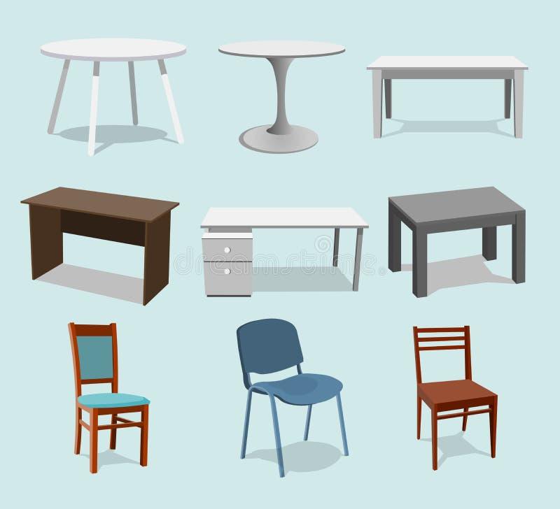 Ejemplo del dise?o interior del vector Sistema de la colecci?n de elementos muebles de moda del dise?ador tabla y silla modernas  stock de ilustración