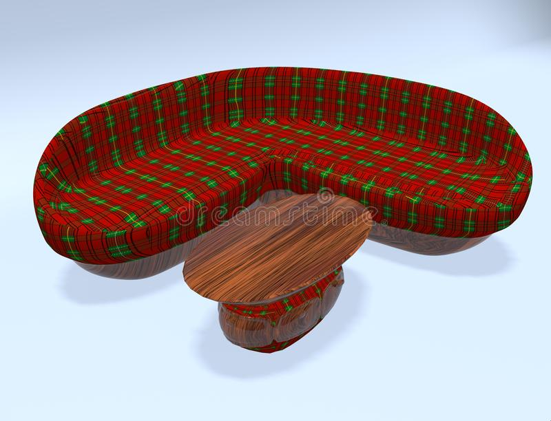 Ejemplo del diván 3d del tartán ilustración del vector