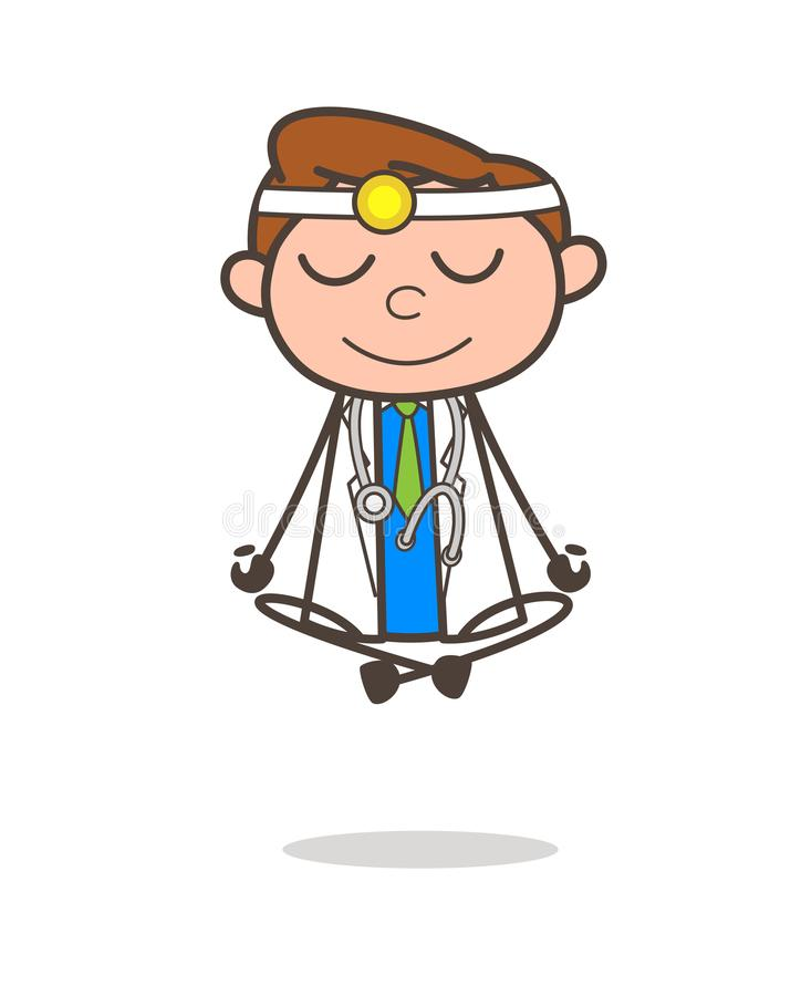 Ejemplo del doctor Doing Yoga Vector de la historieta libre illustration