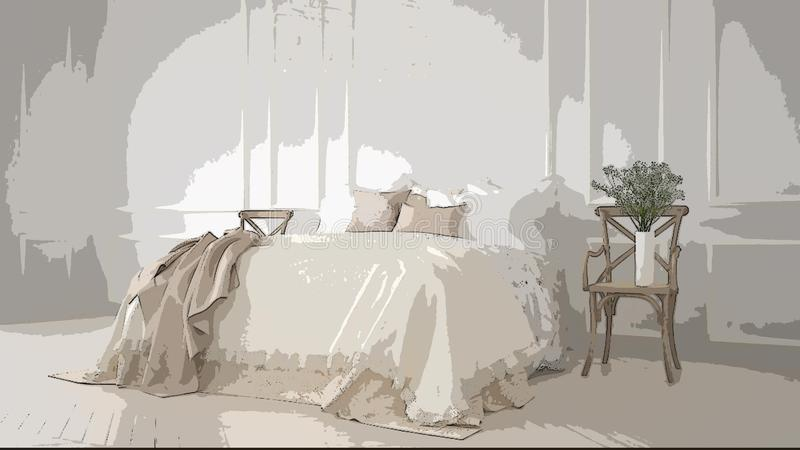 Ejemplo del dormitorio clásico acogedor, diseño interior de la historieta Fondo colorido, concepto del apartamento con los mueble ilustración del vector