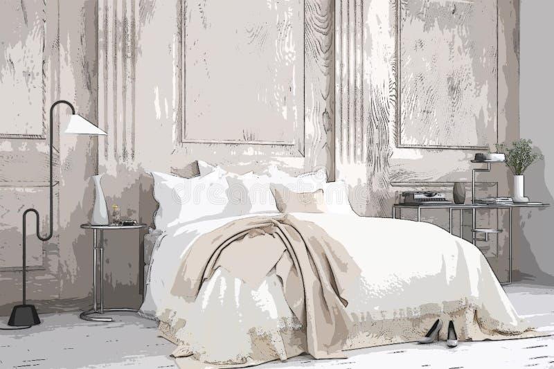 Ejemplo del dormitorio clásico acogedor, diseño interior de la historieta Fondo colorido, concepto del apartamento con los mueble stock de ilustración