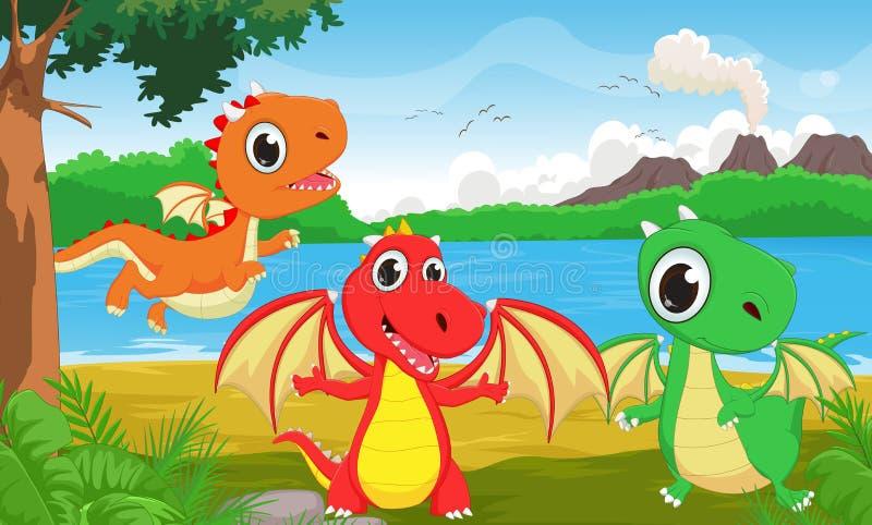 Ejemplo del dragón tres en la selva ilustración del vector
