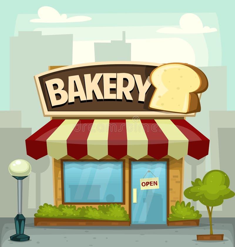 Ejemplo del edificio comercial de la panadería de la historieta del vector libre illustration