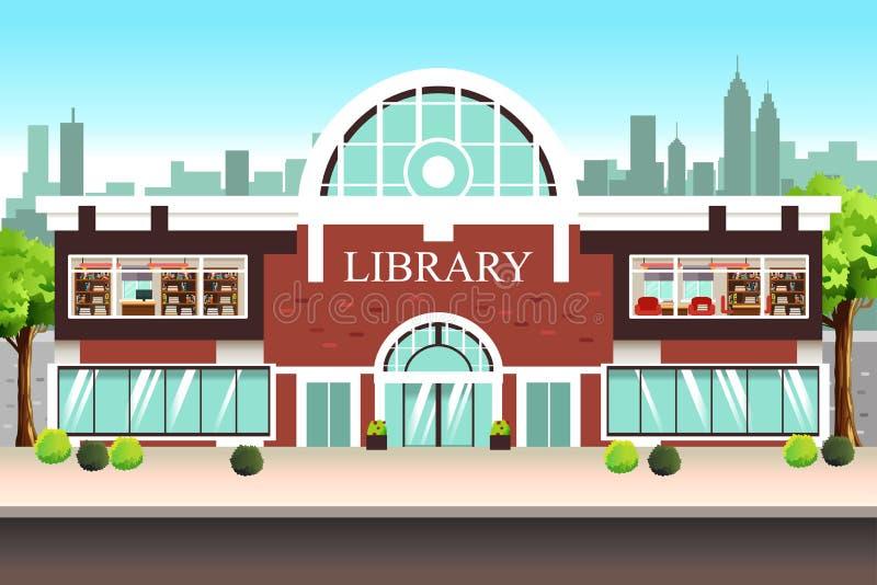 Ejemplo del edificio de biblioteca pública ilustración del vector