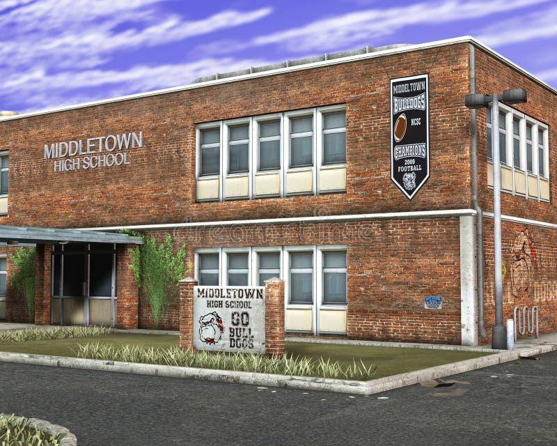 Ejemplo del edificio de la High School secundaria ilustración del vector