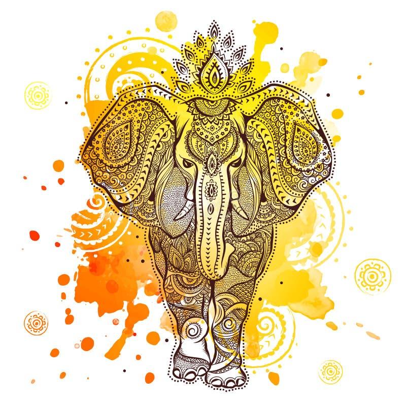 Ejemplo del elefante del vector con la acuarela ilustración del vector