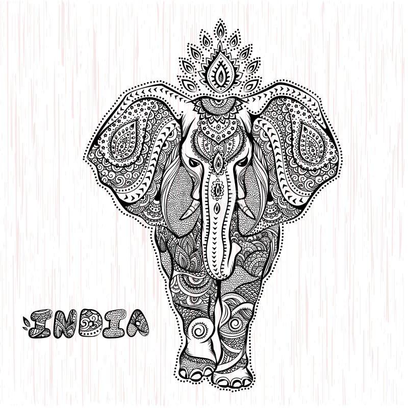 Ejemplo del elefante indio del vintage del vector stock de ilustración