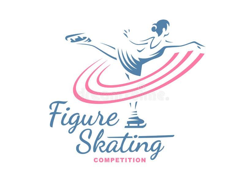 Ejemplo del emblema del patinaje artístico ilustración del vector