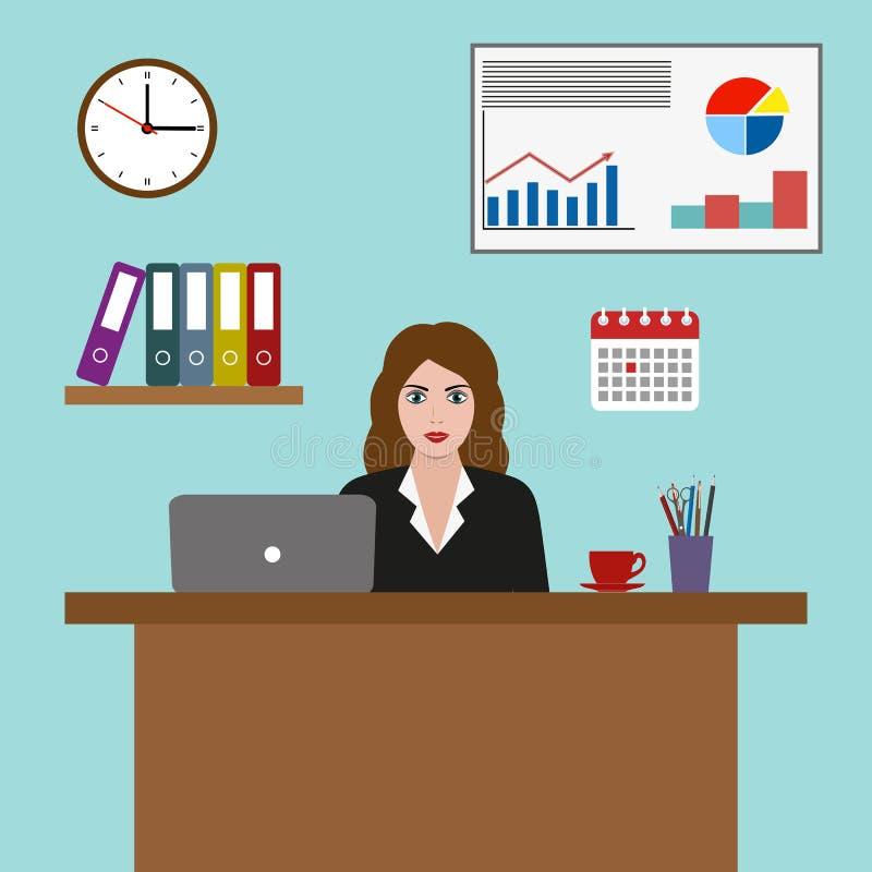 Ejemplo del empresario de la mujer de negocios en un traje que trabaja en un ordenador portátil en la oficina libre illustration