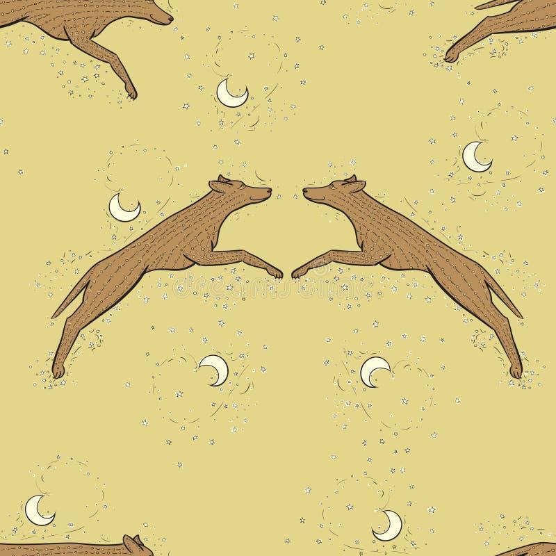 Ejemplo del enredo del zen del lobo del vector Horóscopo chino 2018 - año del perro de la tierra Cielo con la luna y las estrella stock de ilustración