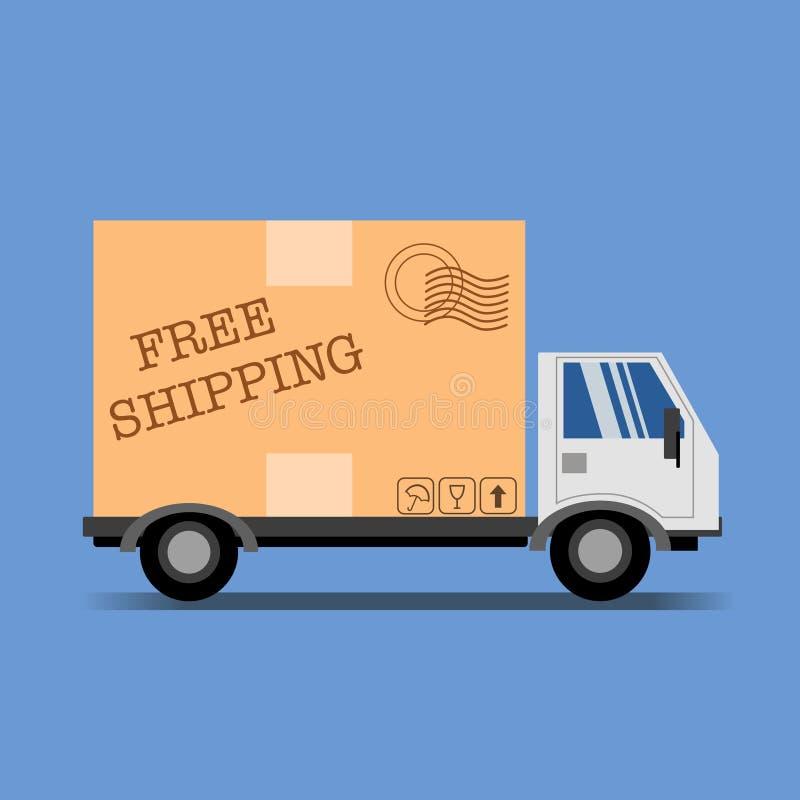 Ejemplo del envío gratis con el camión y el paquete stock de ilustración