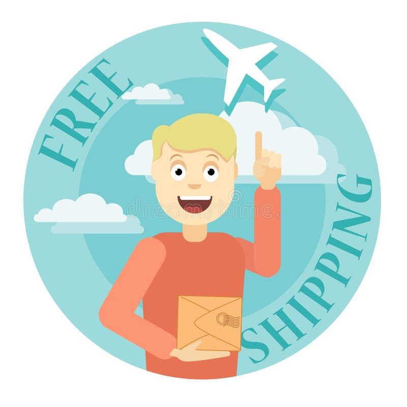 Ejemplo del envío gratis con el hombre y el aeroplano stock de ilustración