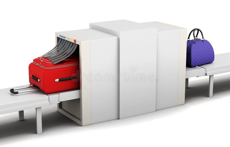 Ejemplo del escáner del equipaje en un fondo blanco 3d rinden libre illustration