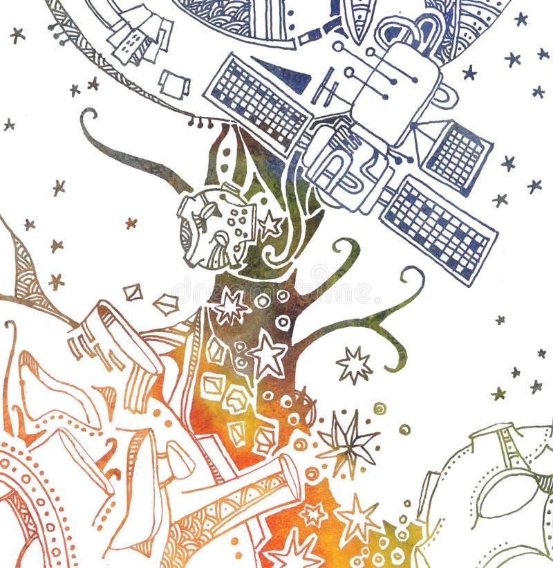Ejemplo del espacio de la fantasía La nave espacial vuela al planeta extranjero en cielo estrellado Gráfico linear con pendiente stock de ilustración