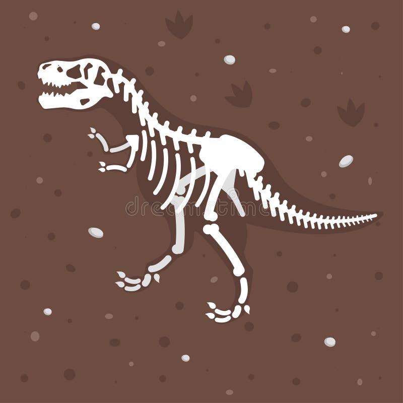 Ejemplo del esqueleto del dinosaurio en la tierra ilustración del vector