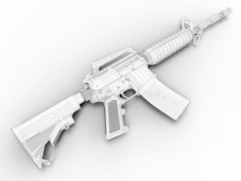 Ejemplo del esquema 3D del rifle de asalto ilustración del vector