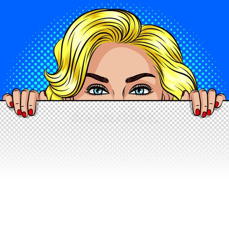 Ejemplo del estilo del arte pop del vector del color de una muchacha que mira a escondidas de detrás una hoja blanca Una mujer es libre illustration
