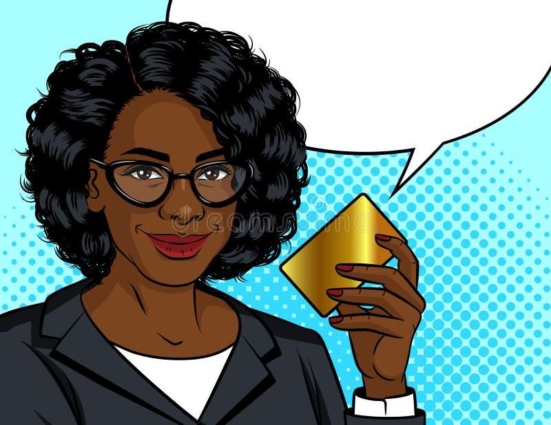 Ejemplo del estilo del arte pop del vector del color Mujer de negocios afroamericana que sostiene una tarjeta del oro en su mano  stock de ilustración