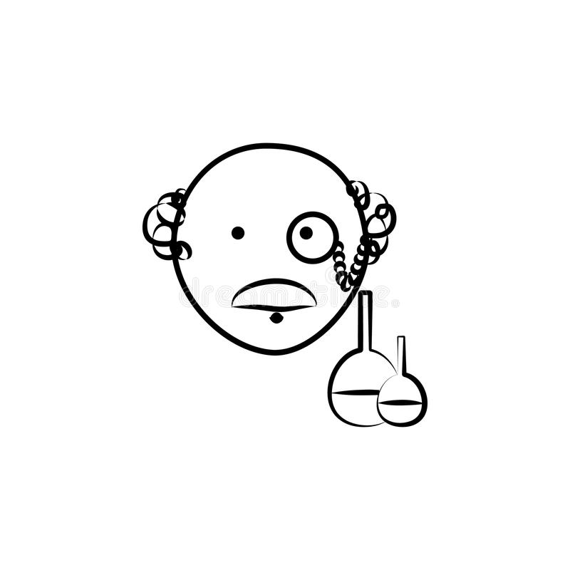 ejemplo del estilo del bosquejo del avatar del científico Elemento de las profesiones para el ejemplo móvil de los apps del conce stock de ilustración