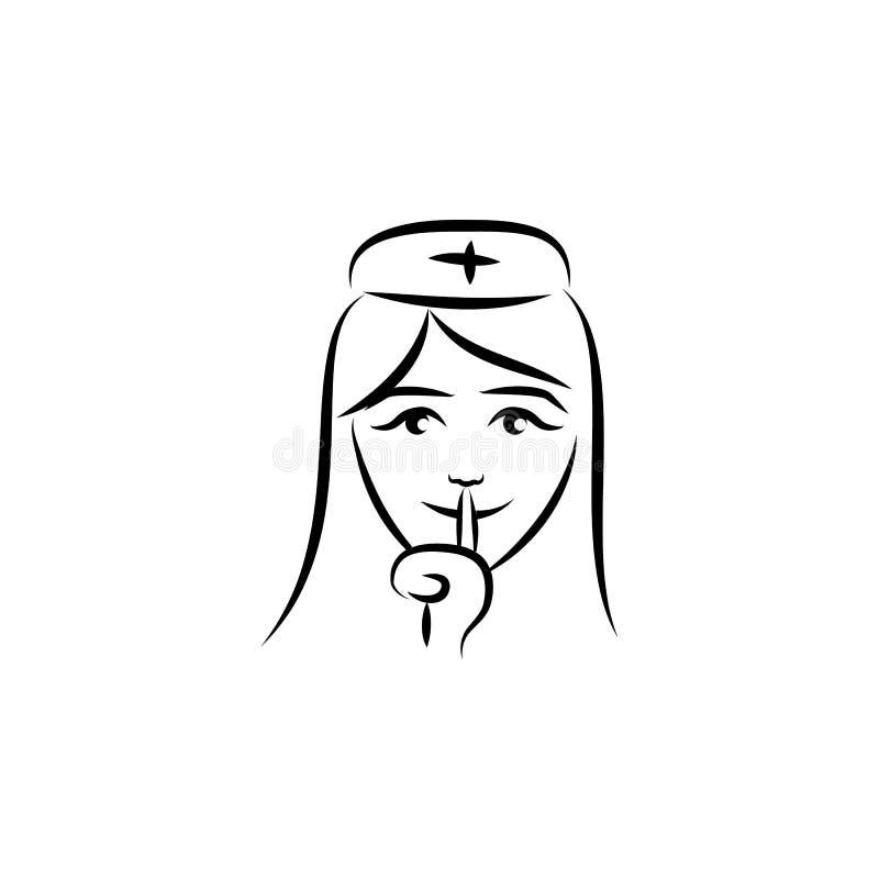 ejemplo del estilo del bosquejo del avatar de la enfermera Elemento de las profesiones para el ejemplo móvil de los apps del conc stock de ilustración