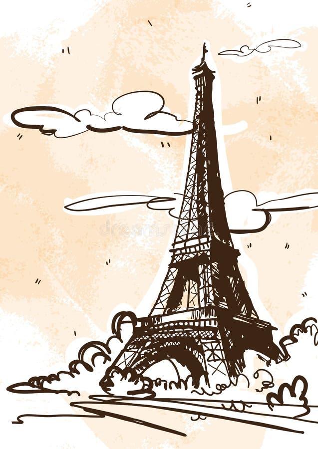 Ejemplo del estilo del bosquejo del vector de la torre Eiffel Francia, París libre illustration