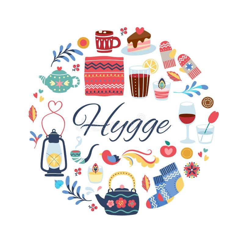 Ejemplo del estilo de Hygge Fondo redondo stock de ilustración
