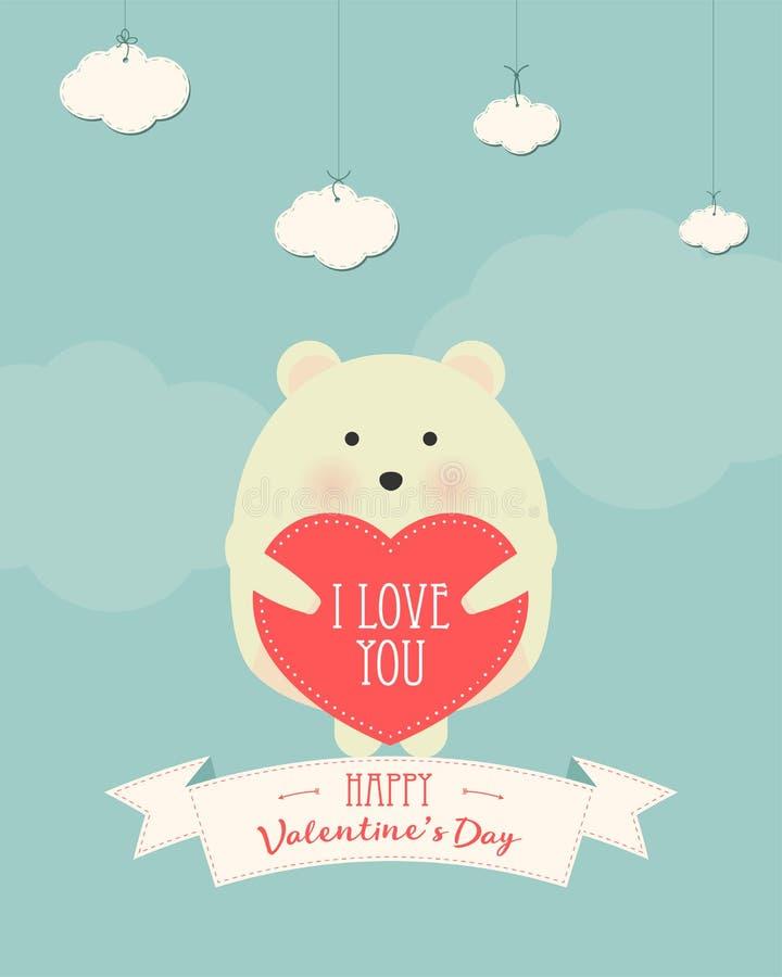 Ejemplo del estilo de la historieta del vector de la tarjeta de regalo romántica del día de tarjeta del día de San Valentín con e ilustración del vector