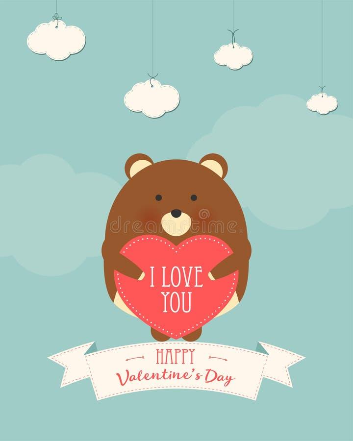 Ejemplo del estilo de la historieta del vector de la tarjeta de regalo romántica del día de tarjeta del día de San Valentín con e libre illustration