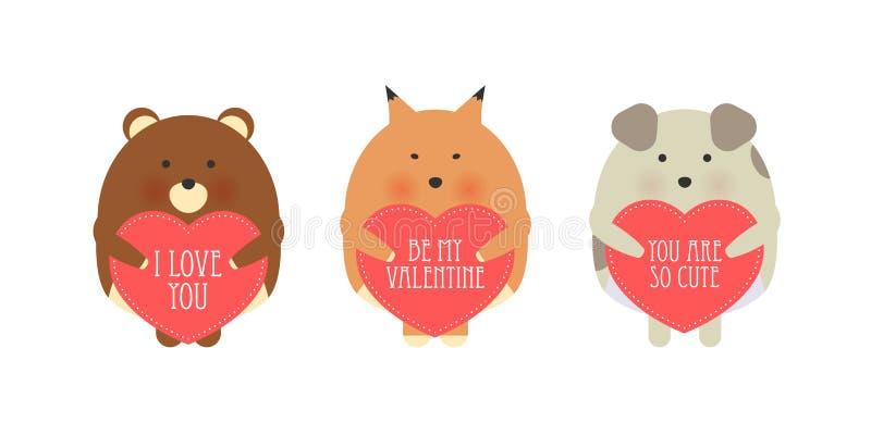 Ejemplo del estilo de la historieta del vector de la tarjeta de regalo romántica del día de tarjeta del día de San Valentín con l ilustración del vector