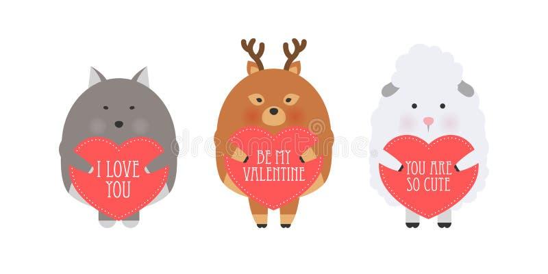 Ejemplo del estilo de la historieta del vector de la tarjeta de regalo romántica del día de tarjeta del día de San Valentín con l libre illustration