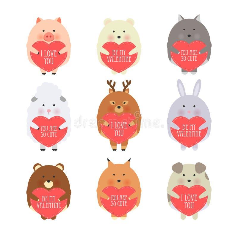 Ejemplo del estilo de la historieta del vector de la tarjeta de regalo romántica del día de tarjeta del día de San Valentín con l stock de ilustración