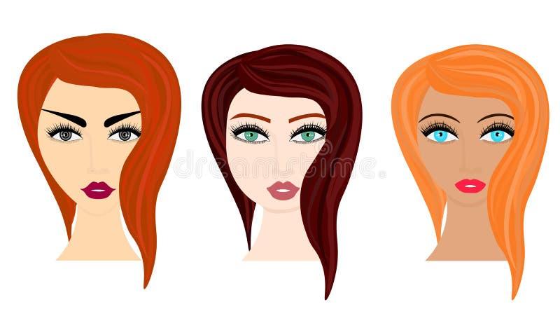 Ejemplo del estilo de la historieta del vector de la web de diversos peinados de la mujer ilustración del vector