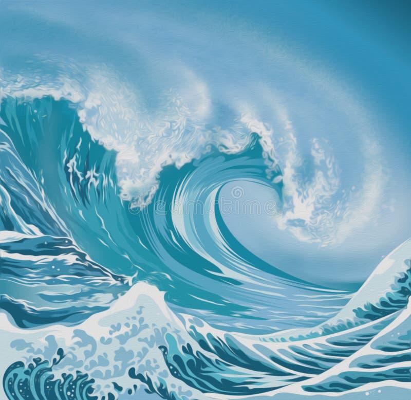 Ejemplo del estilo de la pintura al óleo de la ola oceánica libre illustration