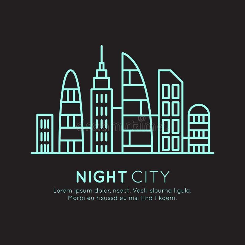 Ejemplo del estilo del icono del vector de la ciudad moderna elegante, nuevo distrito de Eco, concepto de la ciudad del rascaciel ilustración del vector