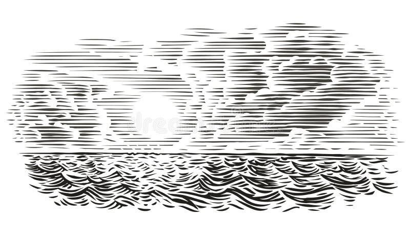Ejemplo del estilo del grabado de la opinión del mar Vector, aislado, acodado libre illustration