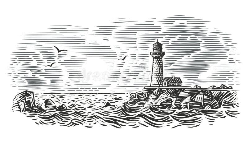 Ejemplo del estilo del grabado del faro Vector stock de ilustración
