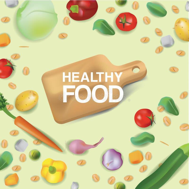 Ejemplo del estilo del realismo del vector sobre la comida sana Las nueces rodea a la tabla de cortar los cereales, las verduras  stock de ilustración