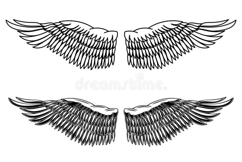 Ejemplo del estilo del vintage de las alas del águila Elemento del diseño para el logotipo, etiqueta, emblema, muestra, cartel, t libre illustration