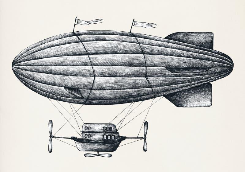 Ejemplo del estilo del vintage del globo del aire caliente ilustración del vector