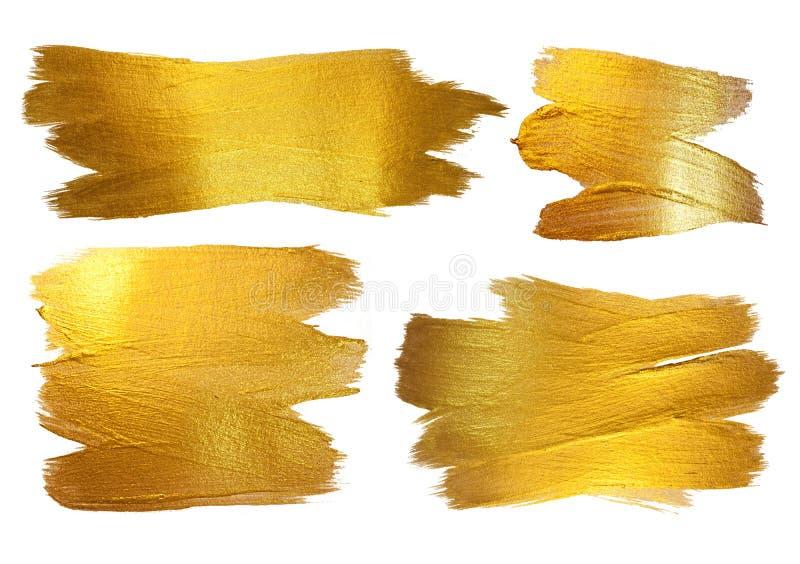 Ejemplo del extracto de la mancha de la pintura de la textura de la acuarela del oro El movimiento brillante del cepillo fijó par imagen de archivo