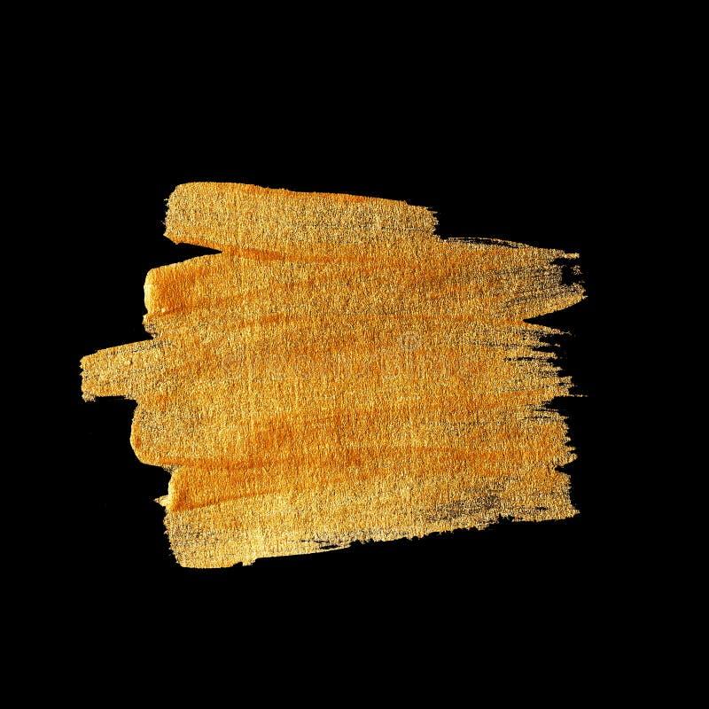 Ejemplo del extracto de la mancha de la pintura de la textura de la acuarela del oro Movimiento brillante del cepillo para usted  ilustración del vector
