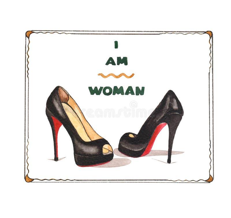 Ejemplo del fasion de la acuarela con louboutin de los zapatos imagen de archivo