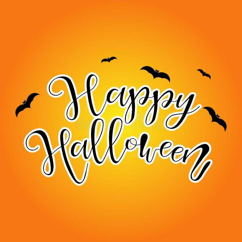 Ejemplo del feliz Halloween con el palo en fondo anaranjado libre illustration