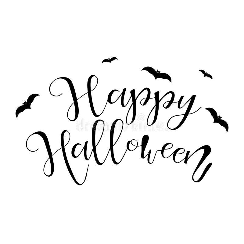 Ejemplo del feliz Halloween con el palo en el fondo blanco libre illustration