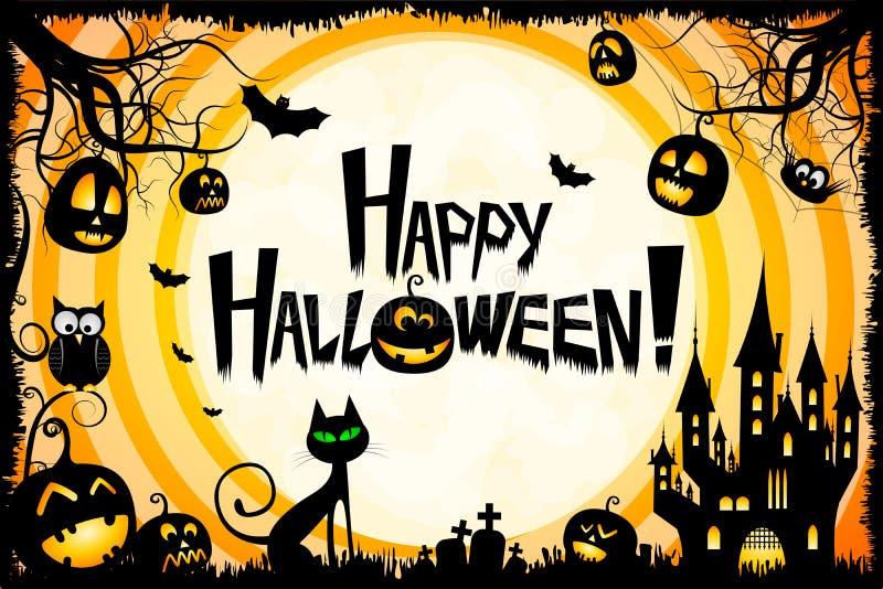 Ejemplo del feliz Halloween - gato, calabazas, claro de luna, castillo stock de ilustración