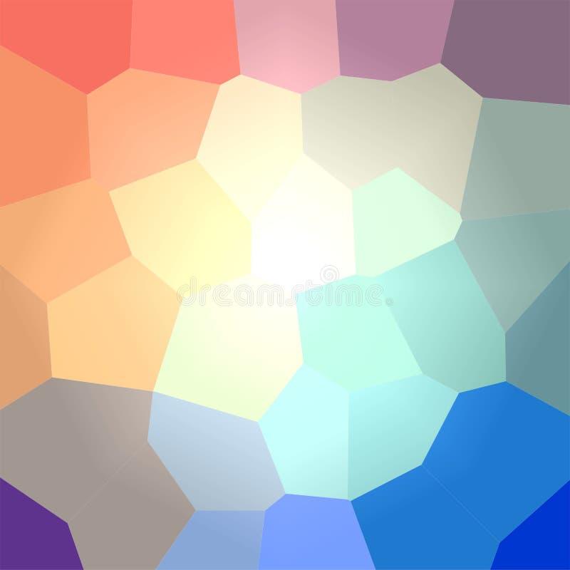 Ejemplo del fondo cuadrado del hexágono gigante azul, verde, amarillo y rojo ilustración del vector