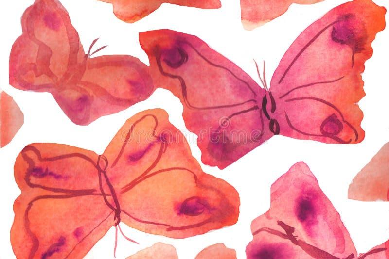 ejemplo del fondo de la acuarela Mariposas de la acuarela en un fondo blanco libre illustration