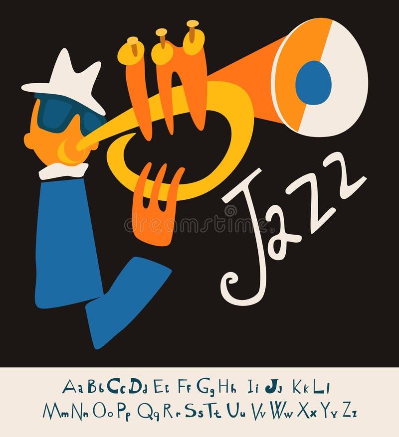 Ejemplo del fondo de la música de concierto del JAZZ con la fuente stock de ilustración