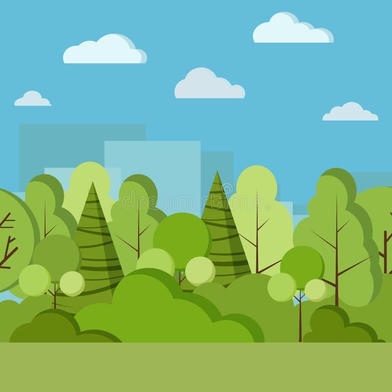 Ejemplo del fondo de la naturaleza del día del parque del vector en estilo plano de la historieta libre illustration
