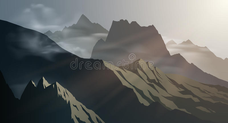 Ejemplo del fondo de las montañas ilustración del vector